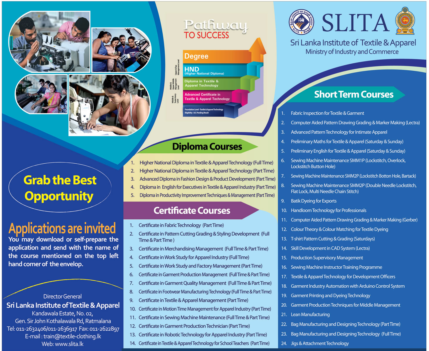 Diploma Courses Certificate Courses Sri Lanka Institute Of Textile Apparel